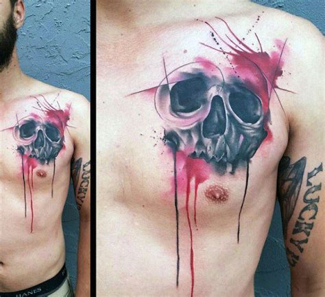 40 watercolor skull tattoo designs for men colorful ink
