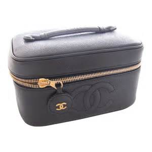 Leather Vanity Cases Chanel Cosmetic Case Vanity Case Caviar Noir Black Leather