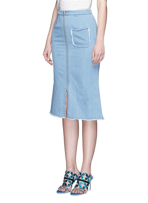 Kr378 Denim Dress 1 lyst nicholas frayed pocket zip denim a line skirt in blue