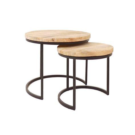 kleine salontafel hout salontafels set van 2 klein hout metaal zwart cees