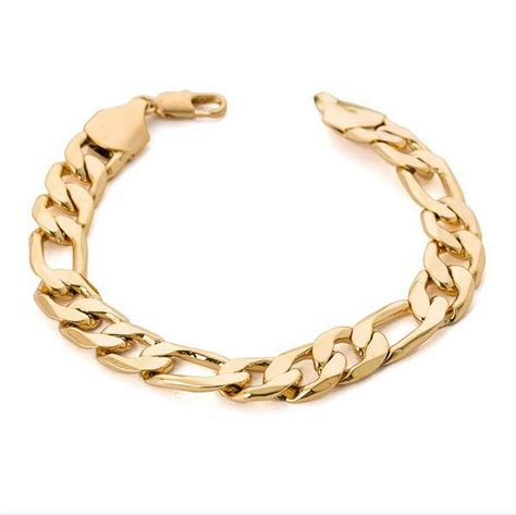 2018 Heavy Wide Figaro Gold Bracelet Men 12mm 9.5inches 18k Real Gold Plated Big Thick Chain