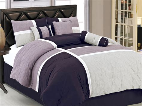 7 pc contemporary urban patchwork comforter set lavender