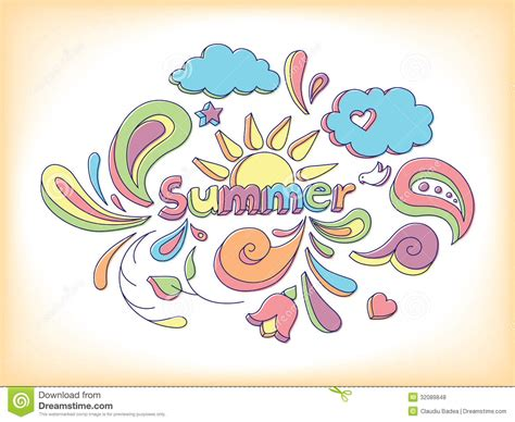 doodle summer summer doodle royalty free stock photos image 32089848