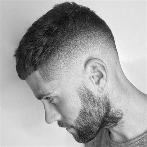 high skin fade with beard men s crew cut hairstyle