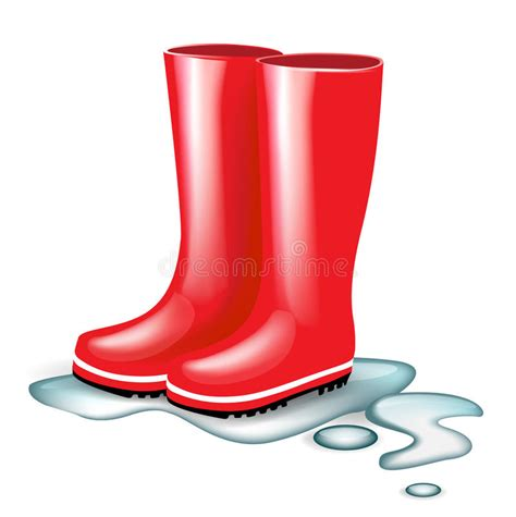 rubber boot dry rot red rubber boots in splash of water royalty free stock