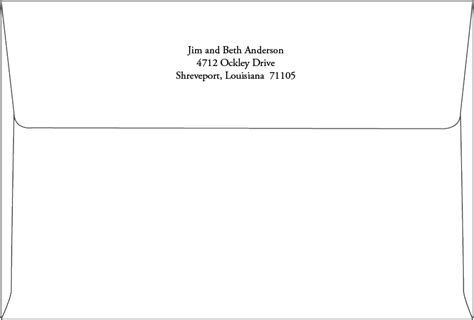 return address printing a8 envelope back flap routh