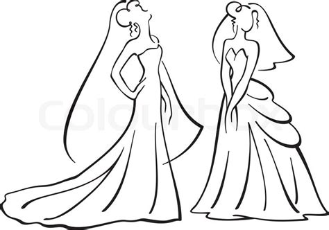 And Groom Outline Drawing by Vector Illustration Of Vector Colourbox