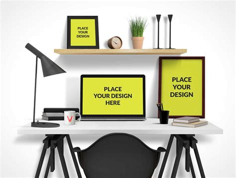 picture frames for office desk office desktop psd mockup with computer poster and