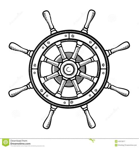 captain s wheel in black and white stock vector image