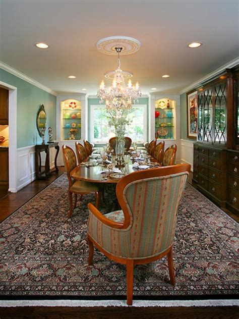 blue victorian dining room  crystal chandelier hgtv