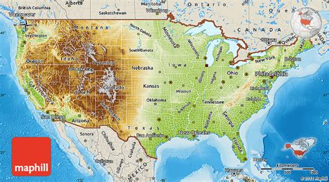 us map just states physical map of united states shaded relief outside