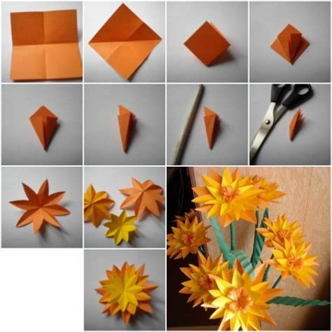 How To Make Flowers Out Of Construction Paper 3d - how to make paper marigold flower step by step diy