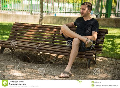 waiting on a bench man waiting stock photo image 44824175