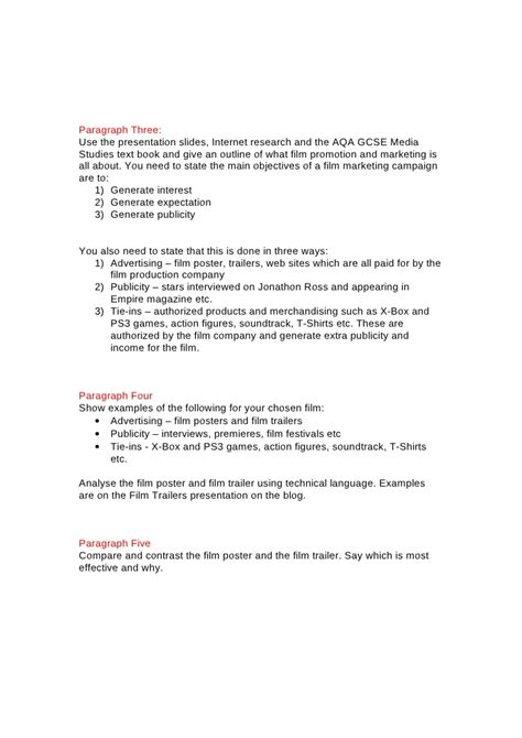 Media Studies Essay by Gcse Promotion Essay Plan
