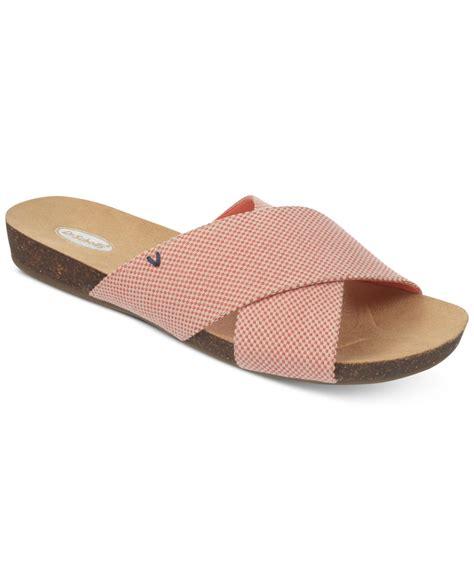 dr scholls sandals lyst dr scholls flat sandals in pink