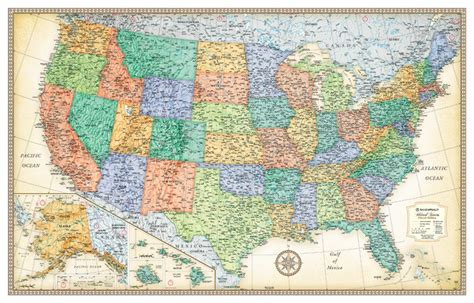 World Map Wall Murals rand mcnally classic edition united states wall map 32x50