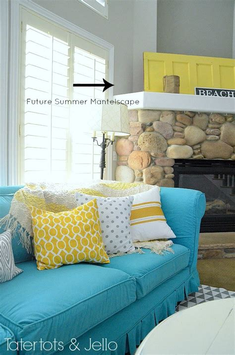 yellow and turquoise room switching things up for summer with a turquoise slipcover tatertots and jello