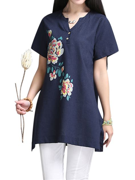 Linen Cotton Sleeve Blouse sleeve floral printing cotton linen