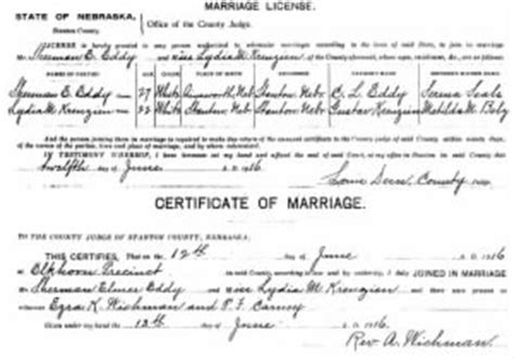 Nebraska Marriage License Records Sherman Eddy Person Pictures And Information Fold3