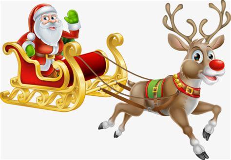 imagenes de santa claus con los renos pintado a mano de renos santa claus reno navidad png