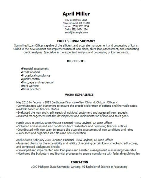 Loan Officer Resume by Professional Loan Officer Resume Templates To Showcase