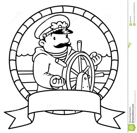 Funny Captain Or Yachtman Coloring Book Emblem Stock Paint Coloring Pages L