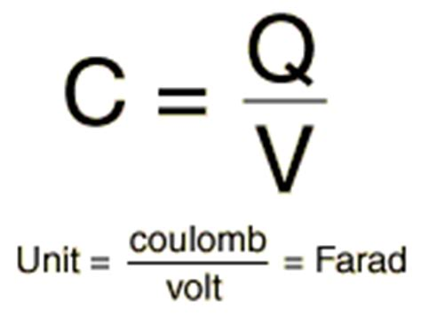 farad capacitor equation a capacitor has a charge of 5 181 c when charged by a potential difference of 1 5 v what is the