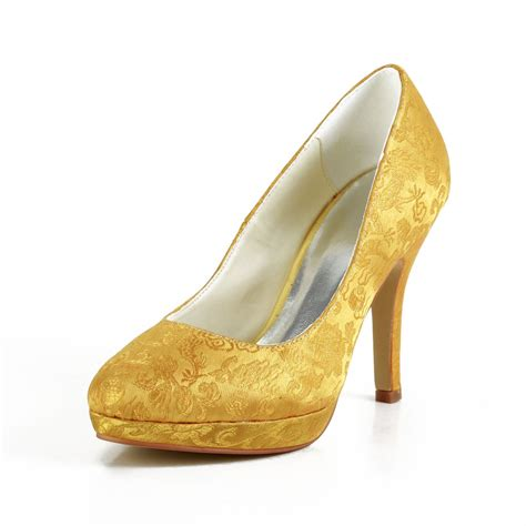 Gold Satin Shoes Wedding by S Fashion Satin Stiletto Heel Closed Toe Platform
