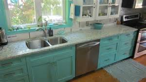 Teal Kitchen Cabinets by Floating Blue Vetrazzo And Teal Cabinetry Eclectic