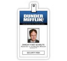 quot dwight schrute the office id badge shirt quot stickers by