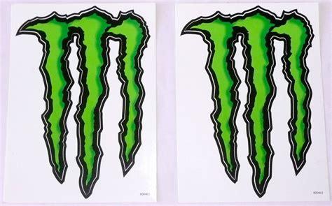 Monster Energy Sticker White by Set Of 2 Monster Energy Drink Logo Stickers Black Green 5