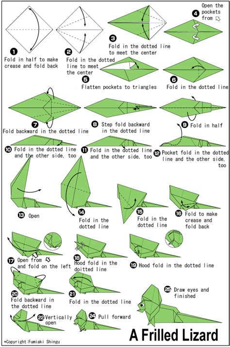 Origami Chameleon - frilled lizard easy origami for