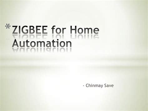 zigbee for home automation