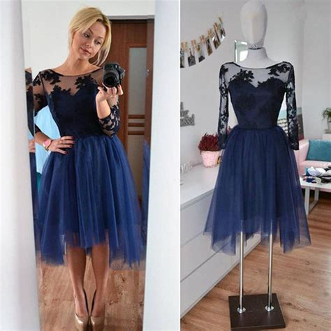 navy blue lace tulle long sleeves homecoming dresses high