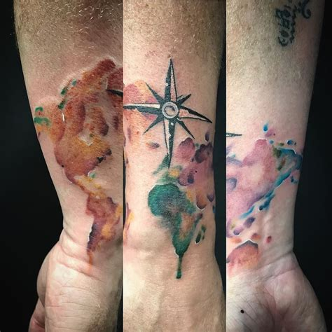 watercolor tattoos map watercolor map with compass wrapped around the arm