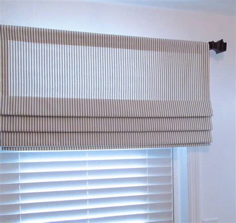 custom faux shade gray ivory ticking by