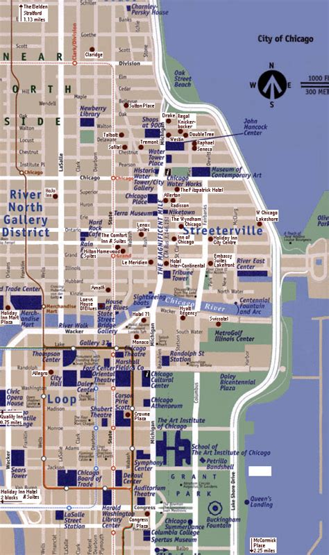 map of downtown chicago chicago map free printable maps