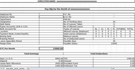 design layout record exle sle of salary slip excel template excel templates