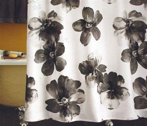 black and white floral shower curtain target home floral watercolor black white fabric shower