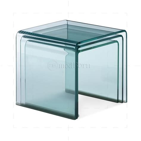 toughened glass nest of 3 coffee side tables clear