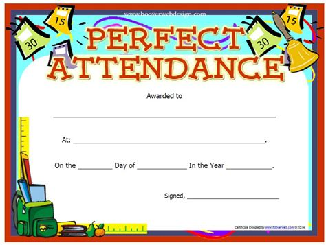 free templates for perfect attendance awards 13 free sle perfect attendance certificate templates