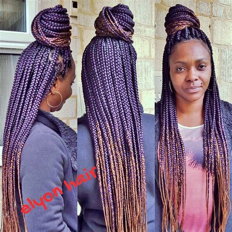 ombre hair color on braid ombre box braids with purple and color 30 box braids