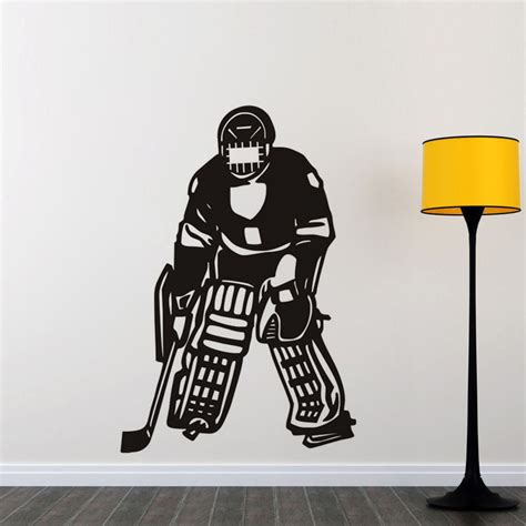 hockey wall stickers hockey player vinyl wall stickers sport removable wall