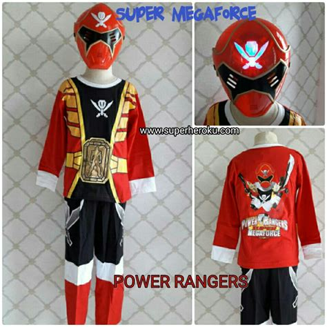 Baju Kaos Power Rangers baju kostum power ranger megaforce topeng nyala