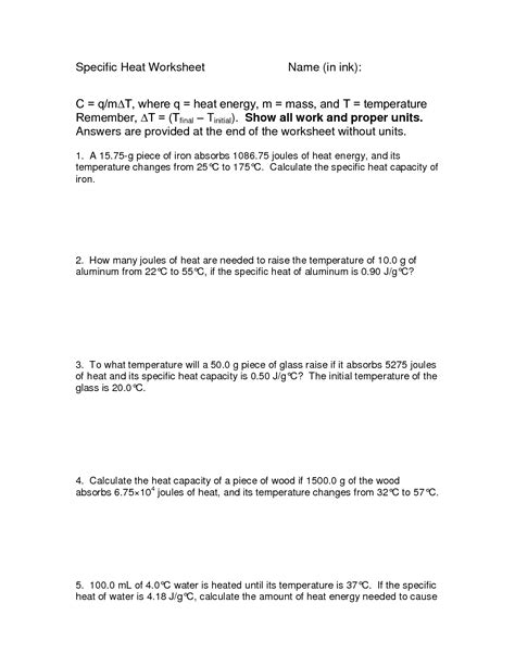 Specific Heat Calculations Worksheet by 19 Best Images Of Thermal Energy Worksheet Answers Heat