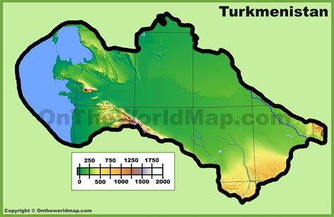 physical map of turkmenistan turkmenistan physical map