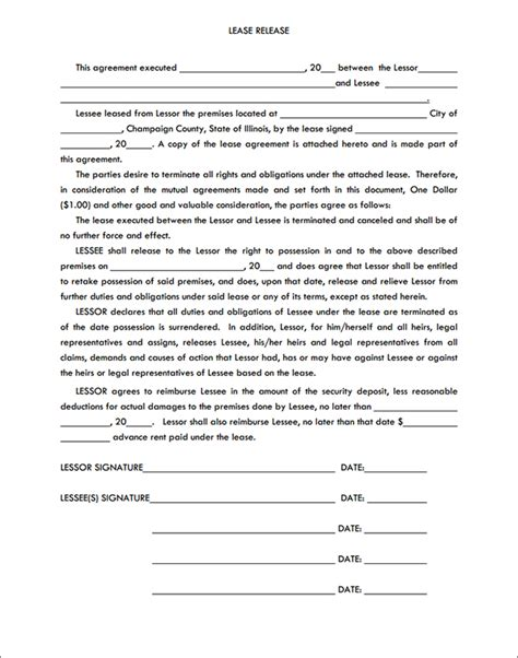 Release From Lease Agreement Letter Rental Lease Release Form Sle Forms