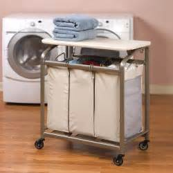 Laundry Folding Table With Storage Laundry Sorter Her Organizer 3 Basket Storage Bins Rolling Cart Folding Table Ebay