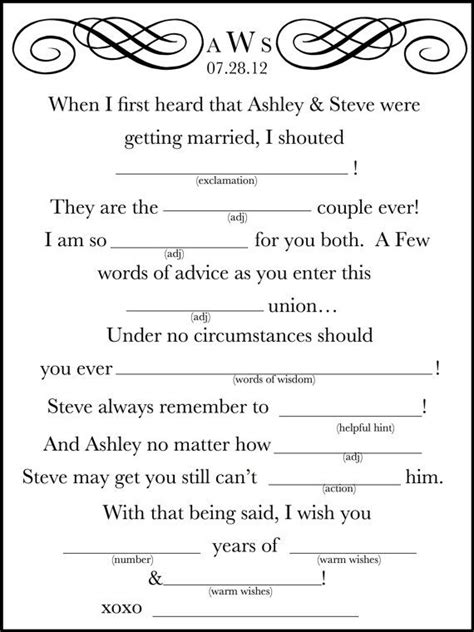 printable wedding shower mad libs 15 mad libs for your wedding bestbride101
