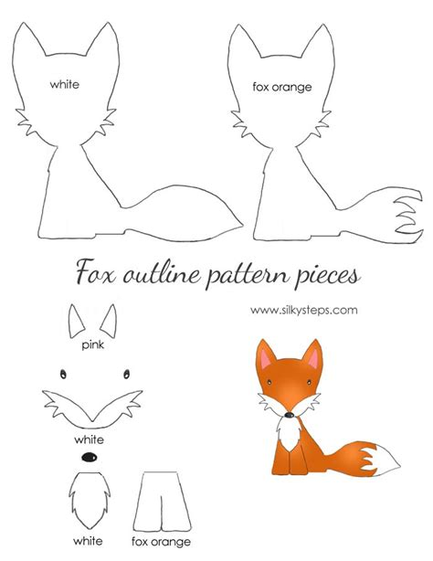 fox template printable fox pattern outline drawing template paper felt printable
